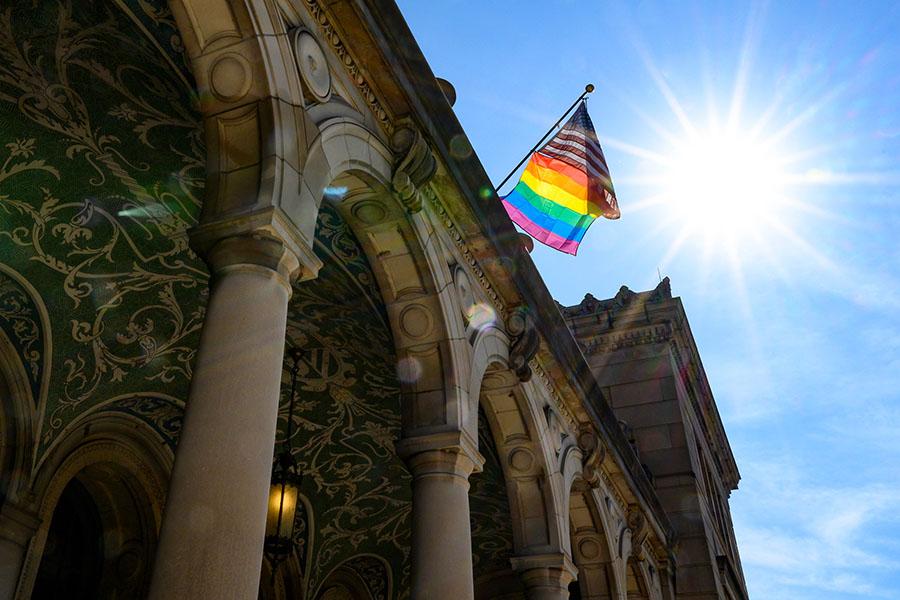 Pride flag at Memorial Union