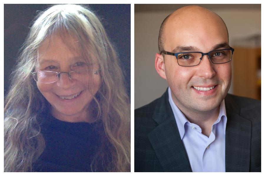 Symposium keynote collage: Patty Gowaty and Justin Garcia
